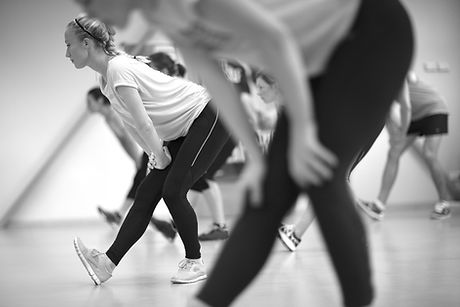 Fitness group session, monochrome