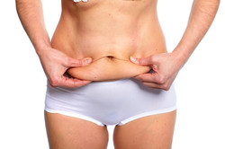 Woman fat belly