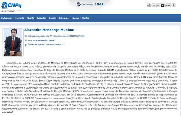 Currículo lattes Alexandre Mendonça Munhoz