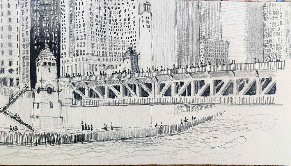 Freehand sketch of the Michigan Avenue DuSable bridge on the east branch of the Chicago River by architect Joel Berman. drawn from the Apple Store.