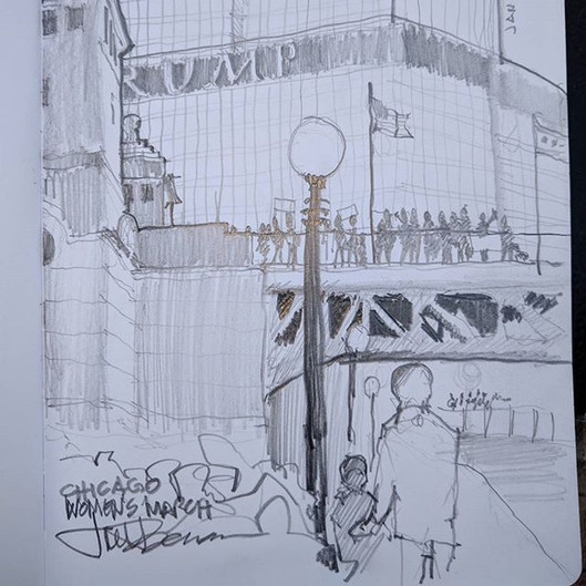 Women's March Chicago; my sketch looking