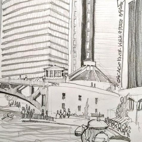 Chicago Riverwalk at State Street, Sketc