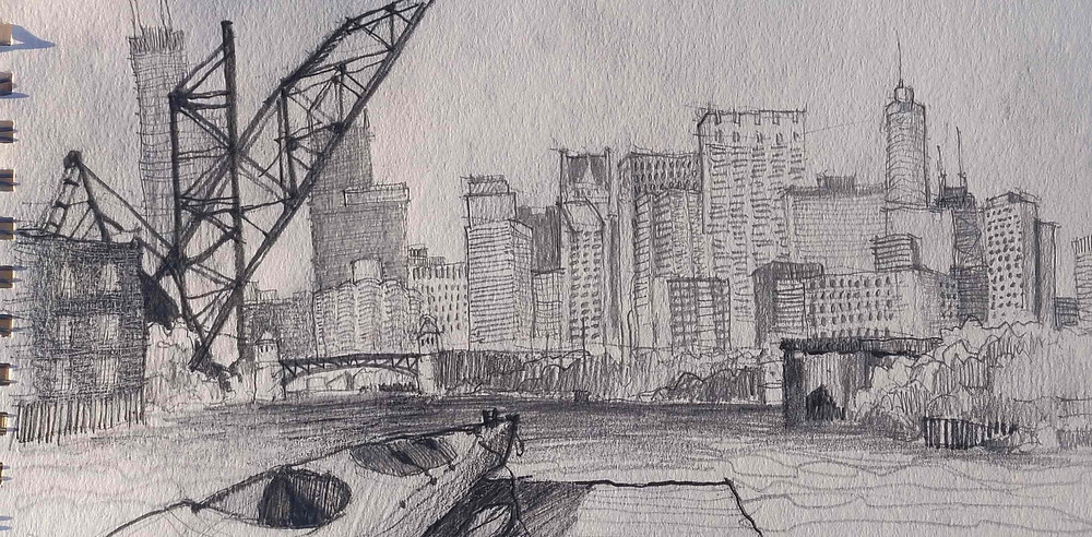 Architect Joel Berman's freehand sketch of downtown Chicago from Ping Tom Park in Chinatown. Includes Joel's kayak, the Amtrack bridge, and the Roosevelt Road bridge. Sketchyaking.
