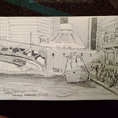 Chicago River Walk on Sunday. My first s