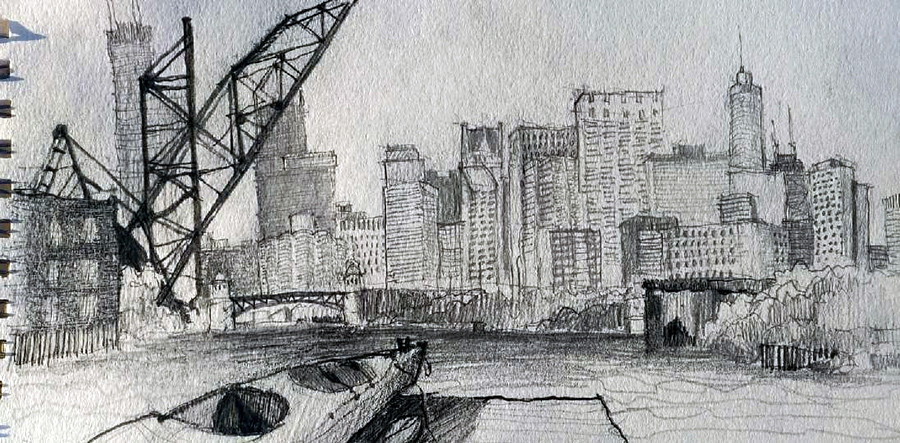 Chicago Architect Joel Berman's freehand sketch of downtown Chicago from the kayak dock at Ping Tom Park in Chinatown on the South Branch of the Chicago River.