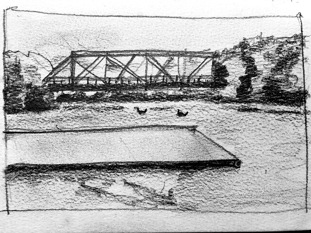 Student's freehand sketch of Goose Island rail bridge and Greater Chicago Dragon Boat Club dock on the Chicago River, Joel Berman's bermansketching class.