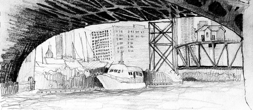 Chicago Architect Joel Berman's freehand sketch of the Canal Street bridge on the Chicago River from the Lawrence Fisheries dock.