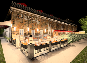 Rendering of outdoor deck at the future Chicago's Home of Chicken & Waffles in the Bronzeville neighborhood of Chicago.