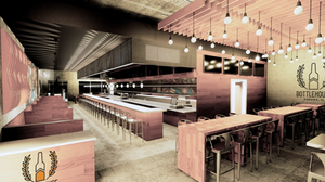 The proposed bottlehouse bar and grill 160 South River in Aurora, Illinois on the Fox River.
