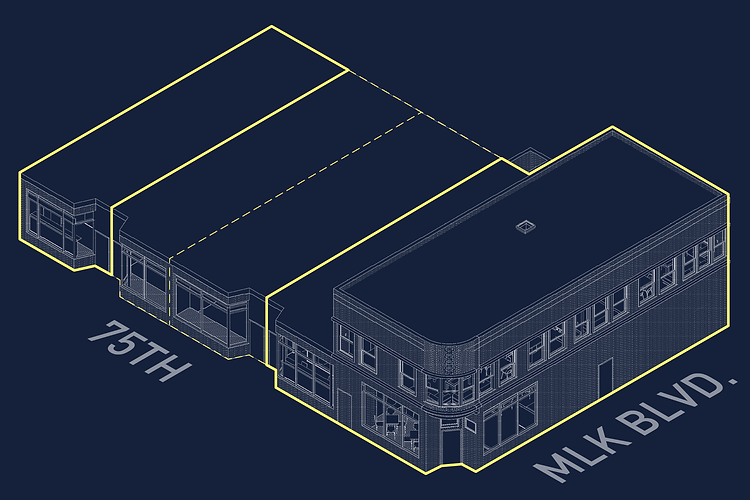 Building renovation axonometric view located in Chicago's Grand Crossing neighborhood