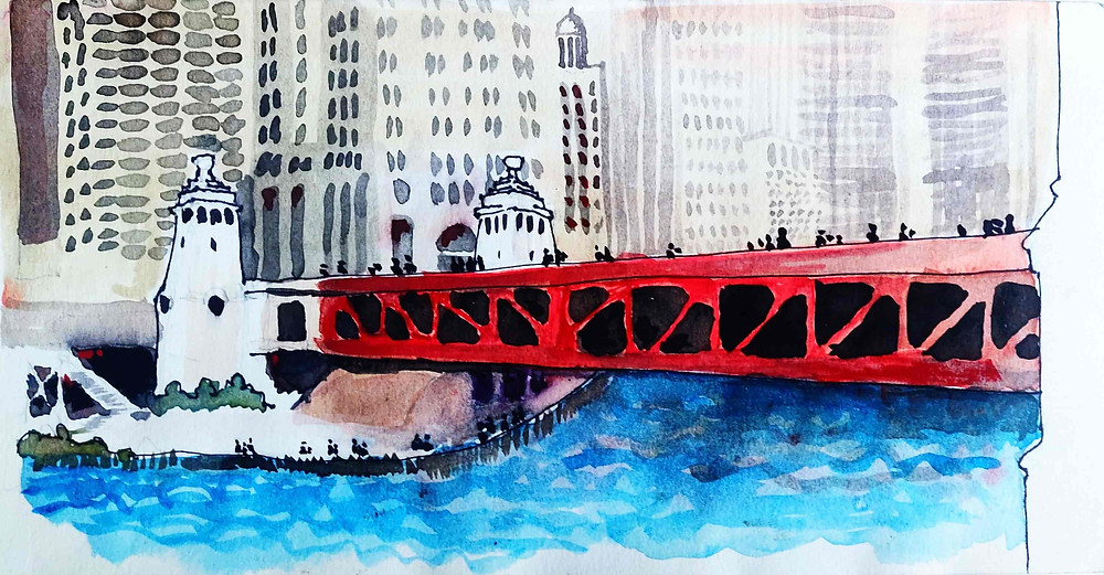 Architect Joel Berman's water color sketch of the Michigan Avenue Dusable bridge on the Chicago River. Bermansketching sketchyaking.