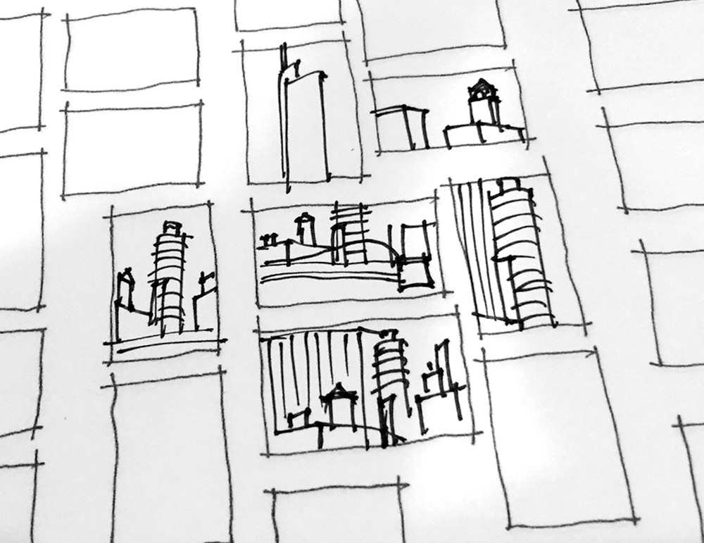 Freehand drawing student thumbnail studies of downtown Chicago from the Chicago River during a bermansketching class.