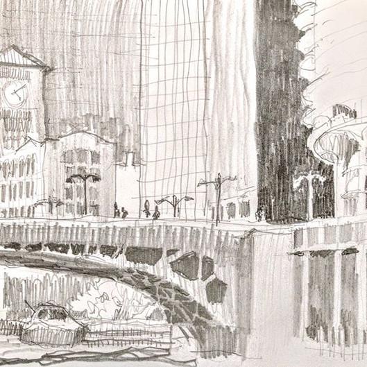 Chicago River Walk, sketch-yaking (sketc