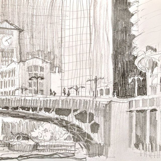 Chicago River Walk, sketch-yaking (sketc