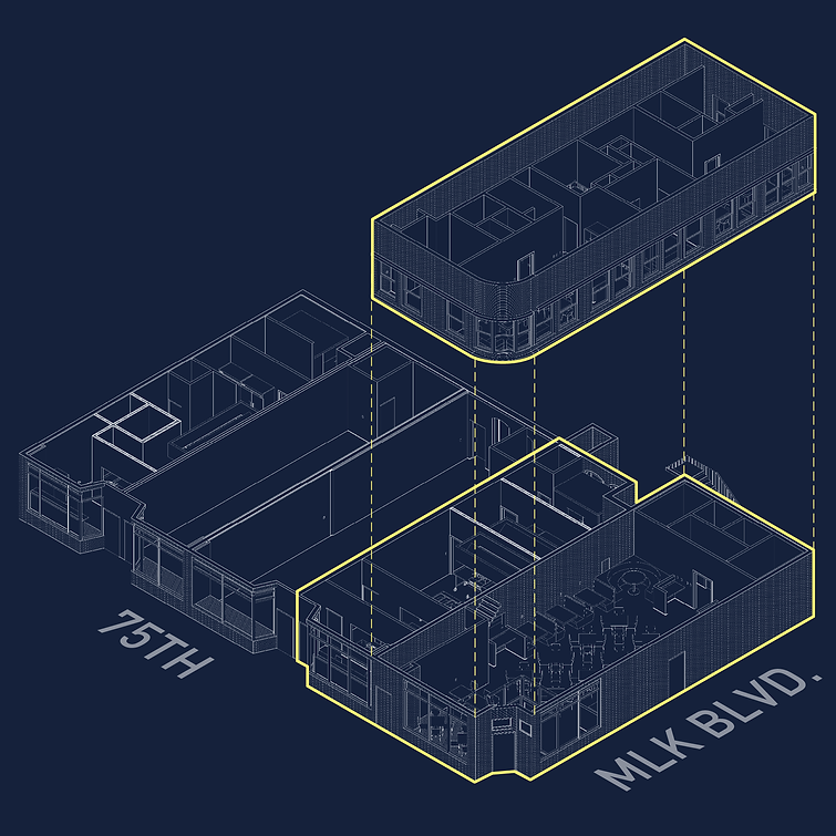 5 Loaves Eatery axonometric view located in Chicago's Grand Crossing neighborhood