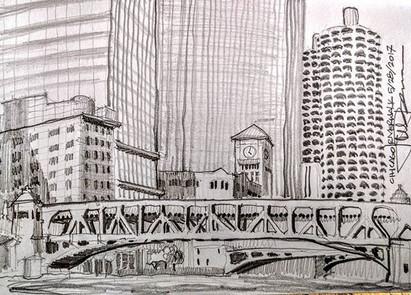 Chicago Riverwalk, looking east toward M