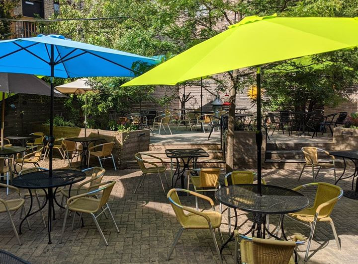 Fiya Restaurant Chicago secluded back outdoor patio in the Andersonville neighborhood of Chicago.