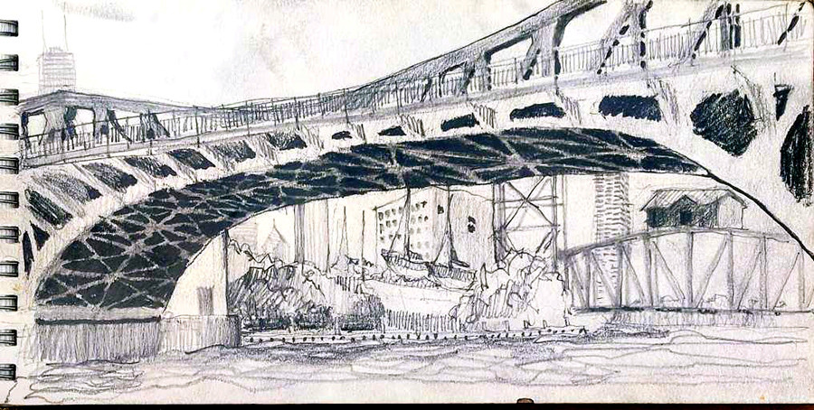 Joel Berman's freehand sketch of the Canal Street bridge on the South Branch of the Chicago River from the dock at Lawrence Fisheries near Chinatown on the South Branch of the Chicago River