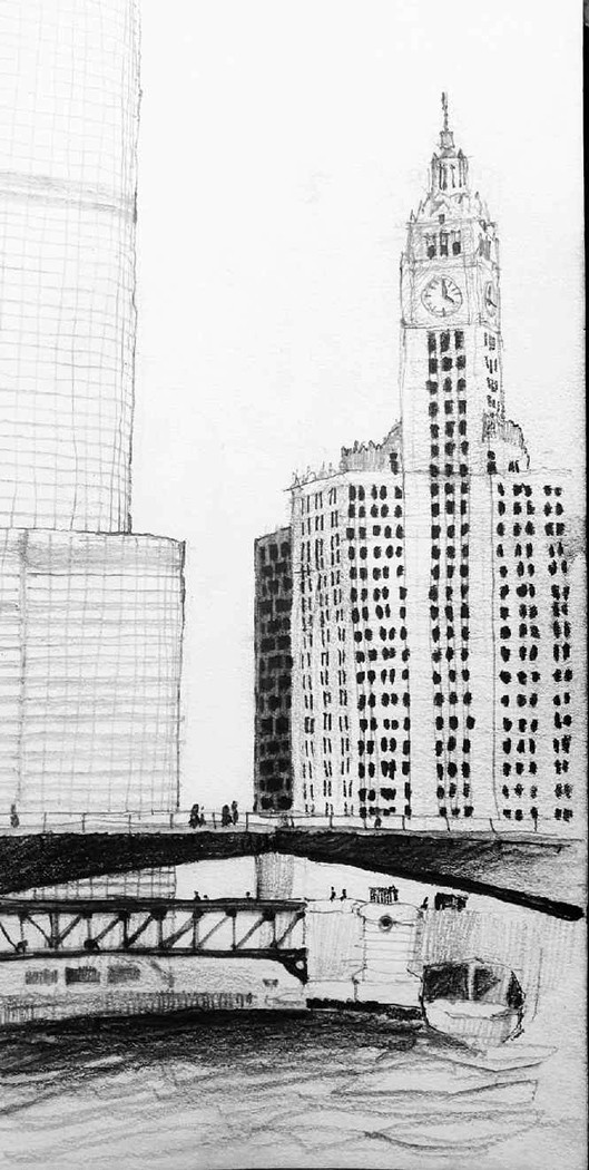 Joel Berman's freehand sketch of the Wrigley Building, Trump Tower, the Dusable Bridge, and the Michigan Avenue Bridge on the main stem of the Chicago River.