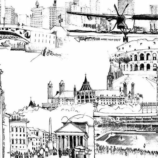 Travel Sketch Collage_ Chicago Riverwalk