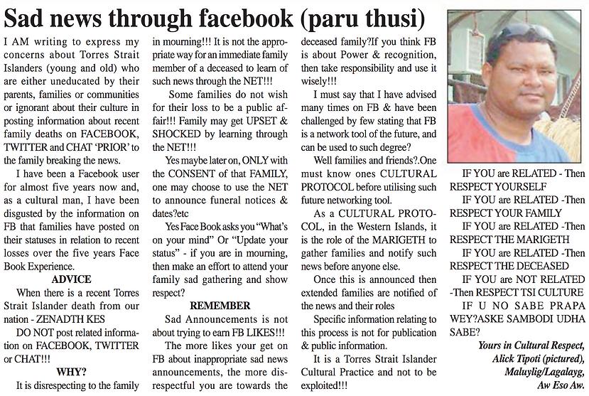 Sad News through Facebook Paru Thusi