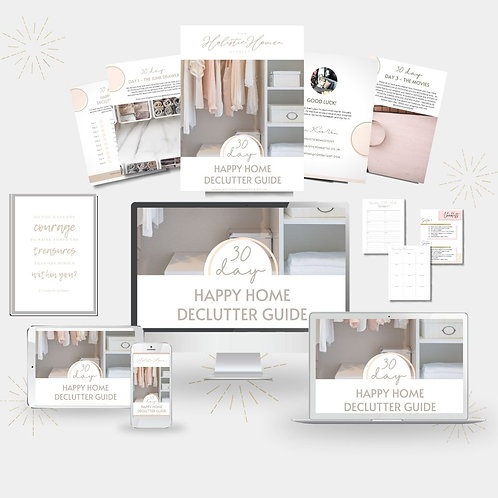 30 Day Happy Home Declutter Guide eBook, Print, Challenge & To Do Lists
