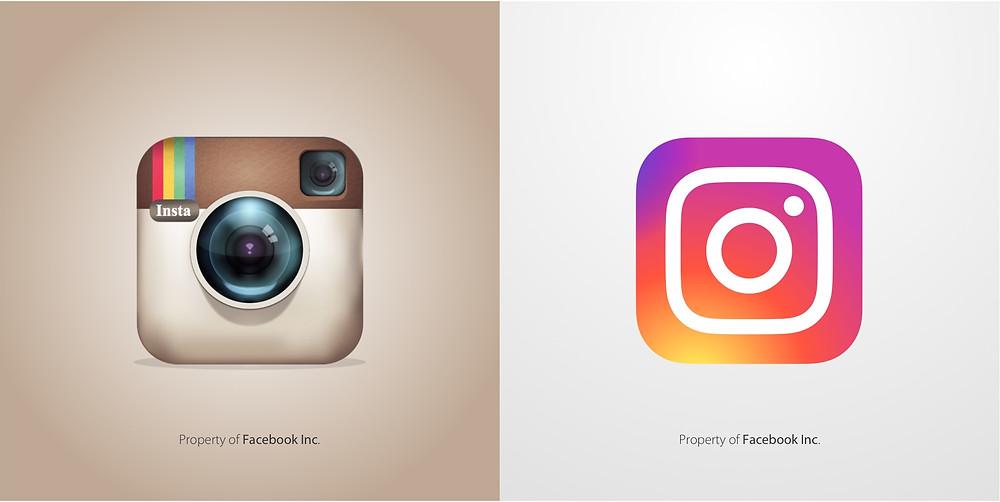 Instagram flat design y diseño skeumorfista
