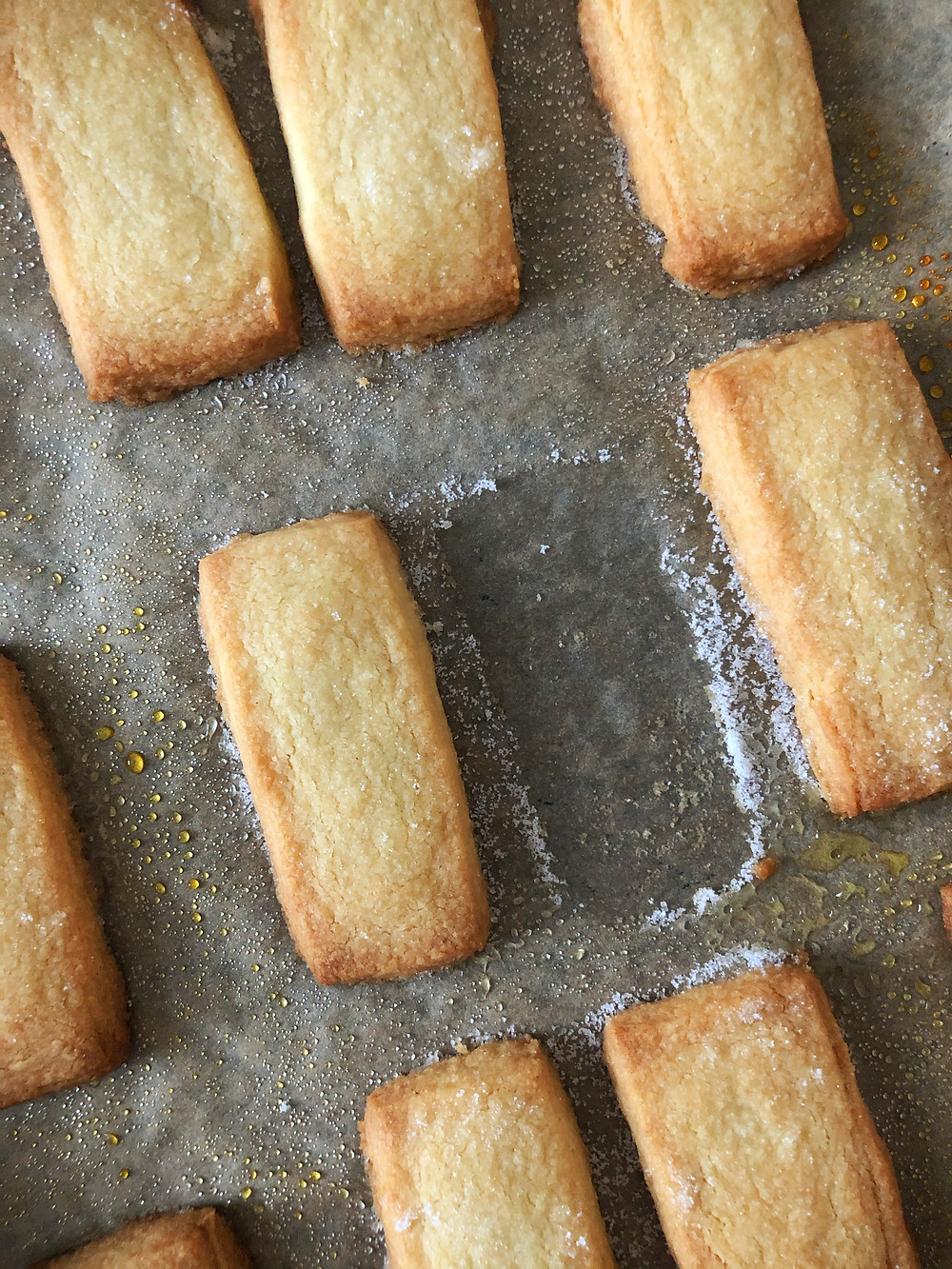 Shortbread biscuits cooked on a baking tray