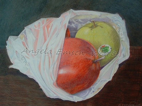 Apples in a plastic bag.