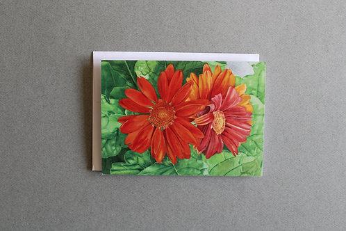 Orange Daisy Folded Note Card