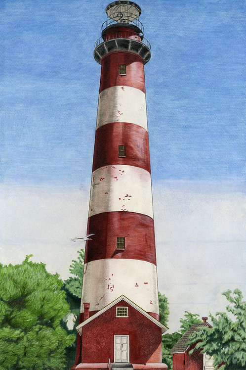 Assateague Lighthouse Original Watercolor 10.5x19 inches
