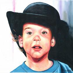 Boy Wearing a Black Hat