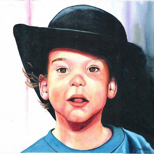 Boy Wearing a Black Hat Art Print