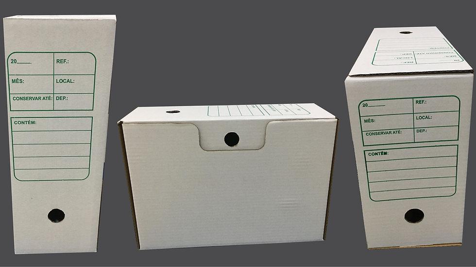 Cx arquivo morto papelão branco CxLxA 345 x 130 x 240mm | 20 unidades