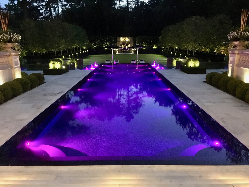 Purple Pool Lights by Lightscapes in Ontario