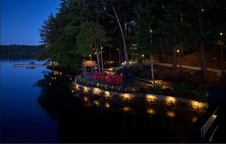 A dock with custom lighting around the edge, done by Nightscapes