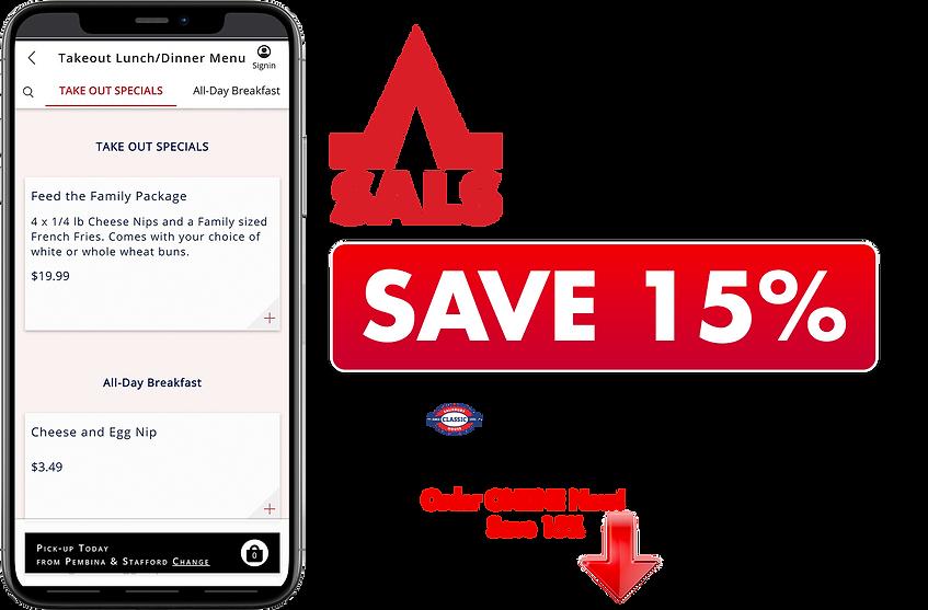 Save 15 percent Order Online