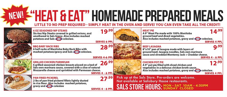 Sals Store Heat & Eat Menu