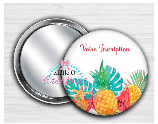 Miroir, Porte-clé décapsuleur, Badge, Magnet Fruits Tropicaux