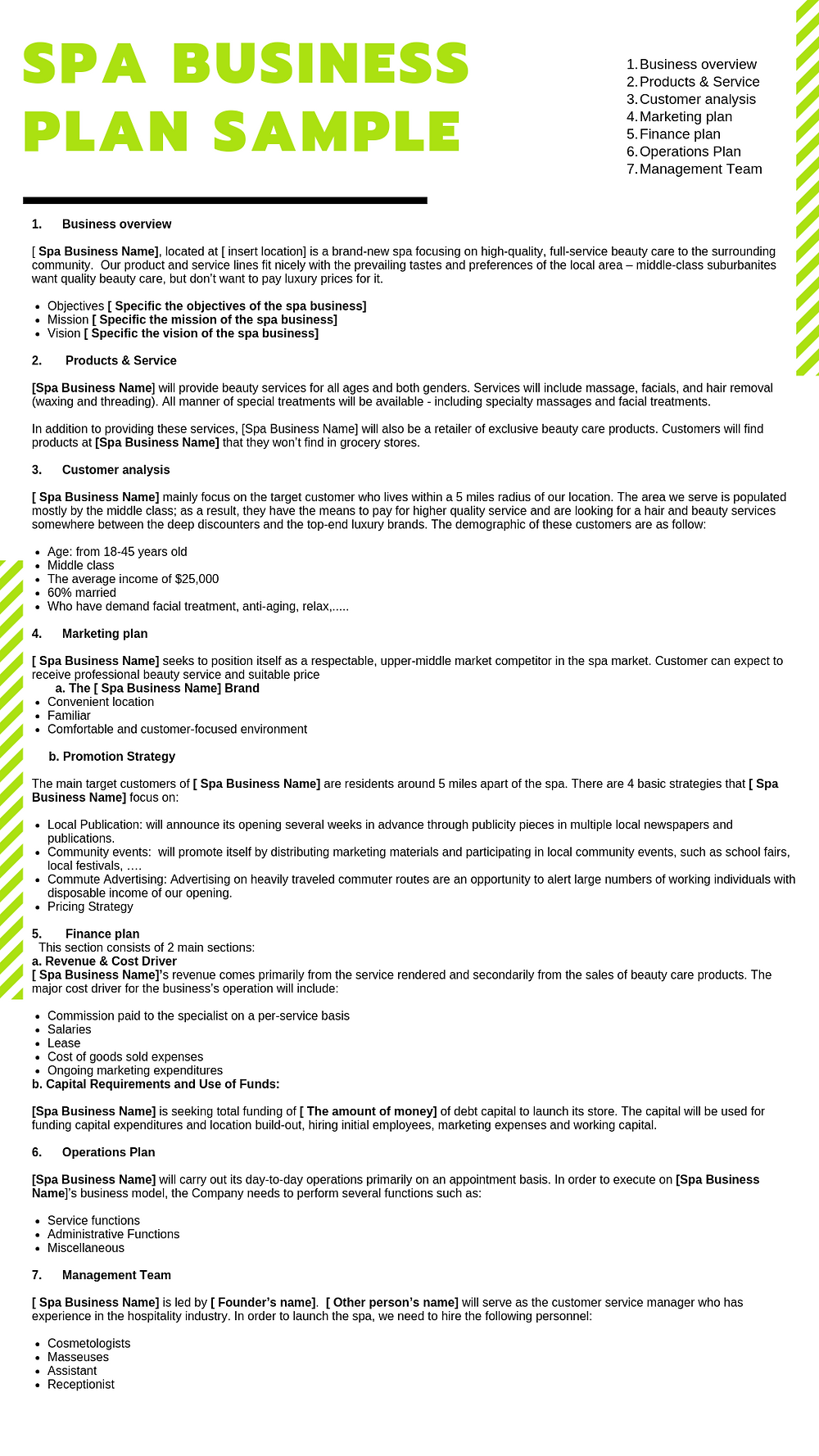 spa business plan sample