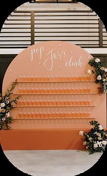 wedding champagne wall, Asheville, North Carolina