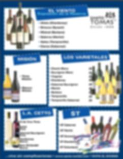 Mariscos Bahía de Ensenada ofreces vinos de Bodega Santo Tomás, reservas EL VIENTO, MISIÓN, LOS VARIETALES, L.A. CETTO Y ST.