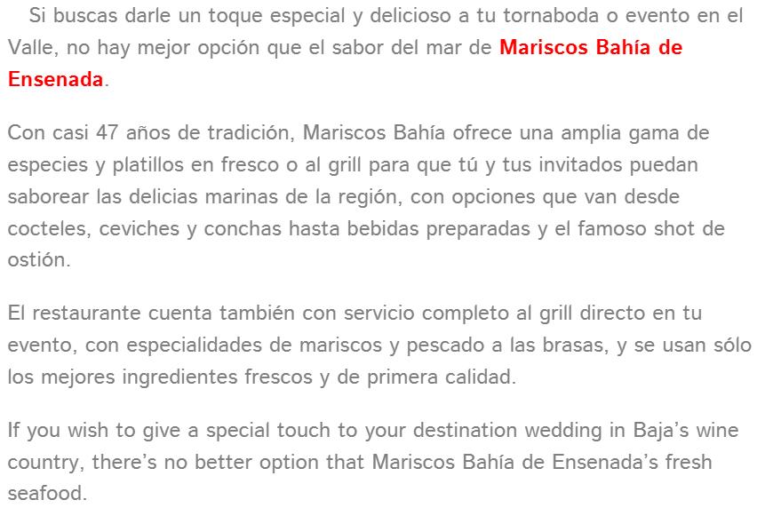 Mariscos Bahía de Ensenada con platillos para tu tornaboda en el Valle.