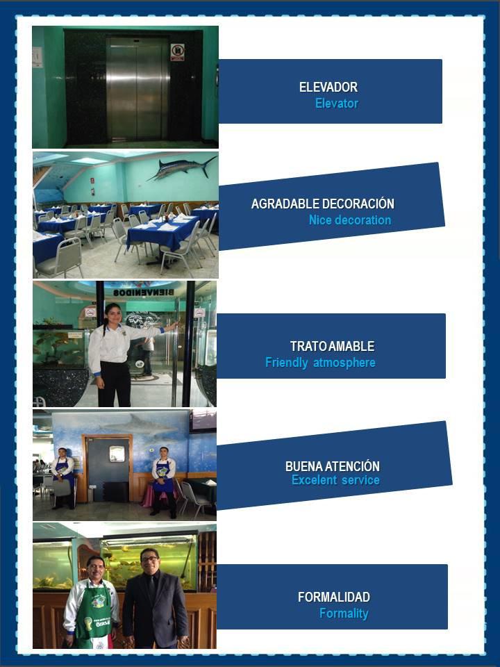 Restaurante Mariscos Bahía de Ensenada cuenta con elevador, decoración agradable, trato amable, buena atención y formalidad.