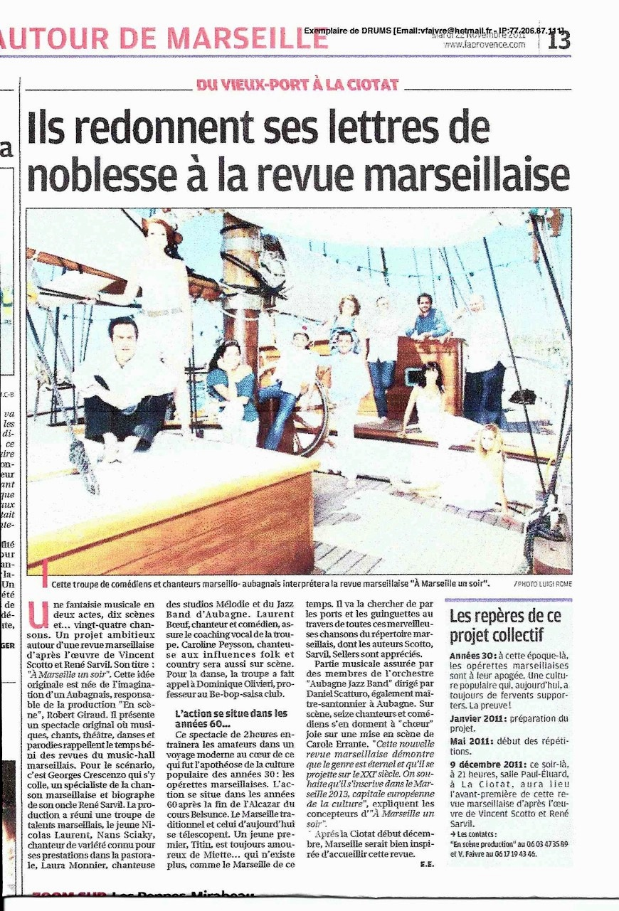 ARTICLE PRESSE MARSEILLE NOV 11