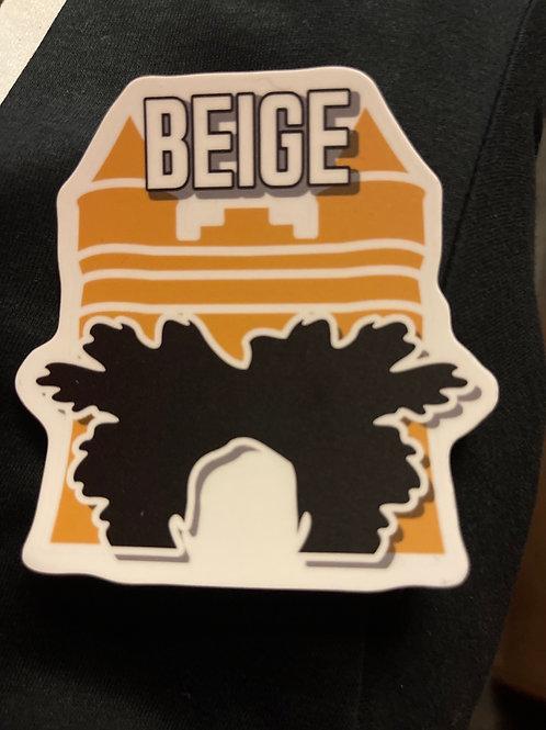 2x Beige Logo Sticker