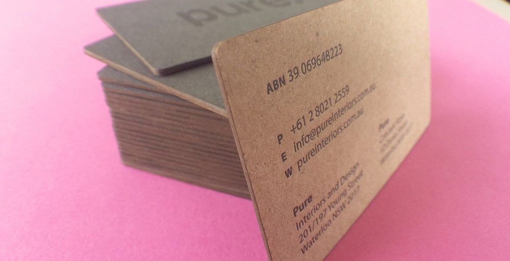 Pure Interiors laser cut business card