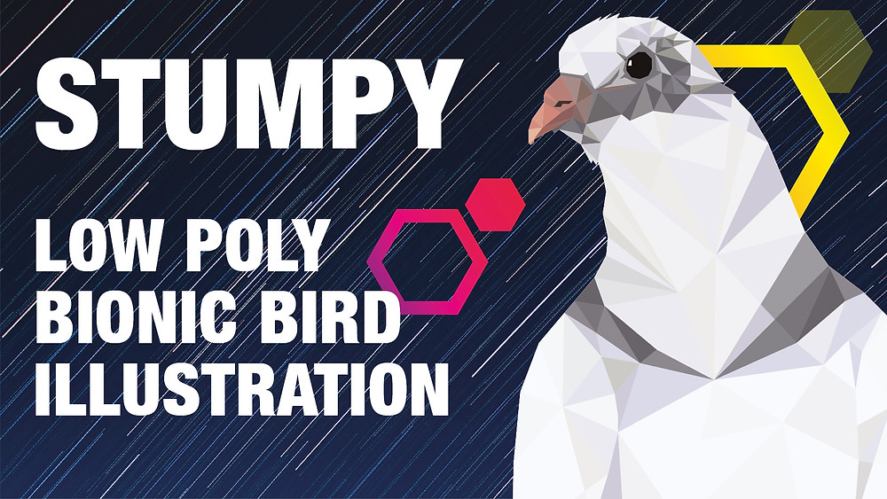 Low poly illustration of Stumpy the Pigeon