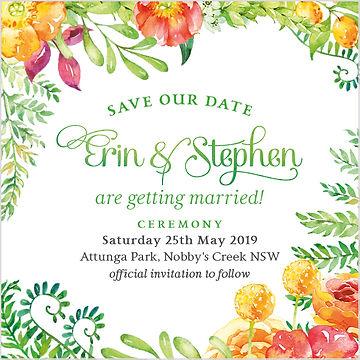 Floral botanic watercolour wedding theme