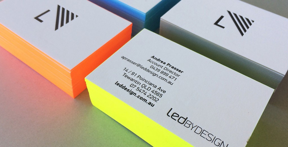 Fluoro edge painting business cards